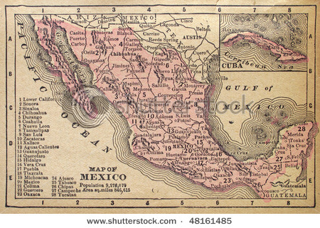 Map of Mexico in 1880